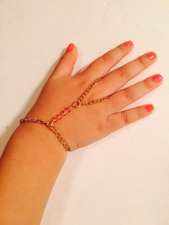 Baby girl slave bracelet or hand harness gold color chain