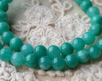 6 mm Pastel Round Lake Green Flower Jade Gem Stones (.mia)