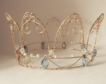 Wire Princess Crown gold with blue jewels
