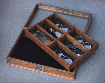 Personalized Rustic Sunglasses Box with glass top