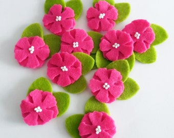 Felt applique, Felt Flower applique, Felt Flower Embellishment, Craft Supplies, 10 pieces