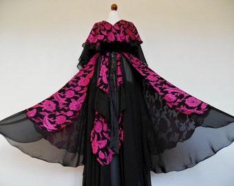 GINA FRATINI . Edwardian Lady . Show Stopping Many Layers Chiffon Burnout Print Shocking Pink Maxi Dress XXS