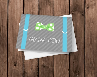 Suspenders and Bow Tie Little Mister Thank You Cards set of 30