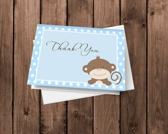 Baby Boy Monkey - Thank You Cards - Notecards - Stationery