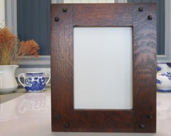 """Arts & Crafts 5""""x 7"""" Quartersawn White Oak Frame Portrait with Ebony Pins Mission Style Handcrafted/Handmade"""