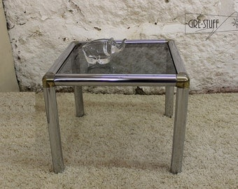Mid Century Modern, vintage small end table Glass, brass and chrome very rare