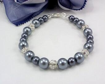 Bridesmad gift, bridesmaid bracelet, pearl bracelet, bridesmaid jewelry, Weddings, pearls and rhinestone bracelet, pearl bridesmaid bracelet