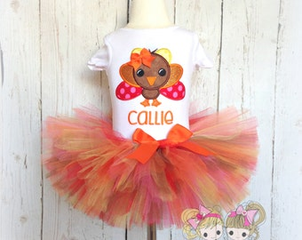 Thanksgiving Turkey Tutu Set- Fall colors- Custom embroidery- First Thanksgiving- Fall photo prop