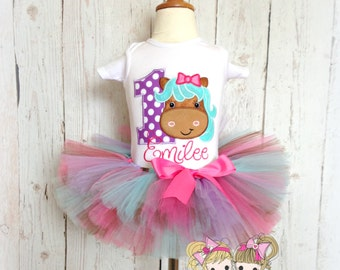 Birthday Pony Tutu Set- First Birthday Outfit- Pink, Brown, Aqua, and purple- Birthday Horse
