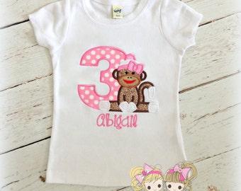 Monkey birthday shirt - pink sock monkey birthday shirt - girls birthday shirt with sock monkey - embroidered birthday shirt for girls