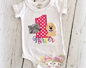Puppy and Kitten Birthday Shirt- Rainbow- Puppy Party- Dog and Cat