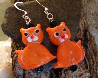 Whimsical Lampwork Cat Earrings Opaque Orange