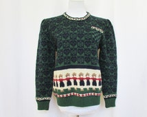 Vintage 80s Sweater Wool L Puff Sleeve