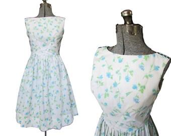 Vintage 50s Dress // Vintage Floral Dress // Vintage 60s Dress // Tank Dress // Medium