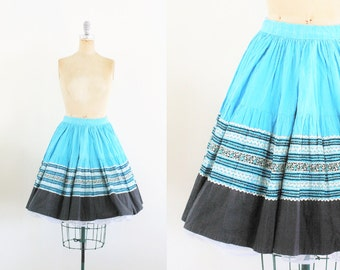 Vintage 1950s Blue Stripe Circle Skirt 50s Circle Skirt 50s Poodle Skirt Western Skirt Ho Down Skirt Blue Black Silver Small