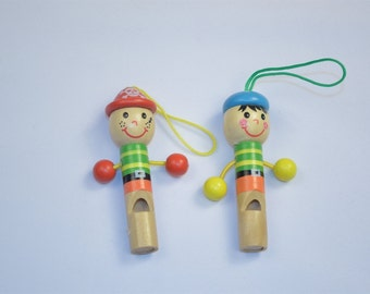 Child's Wooden Whistle - Handpainted Whistle Buddy