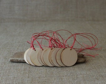 Wooden gift tags  / set of 50 / plywood tags / wooden circle tags / Christmas gift tags on red cord - party favours - wooden labels