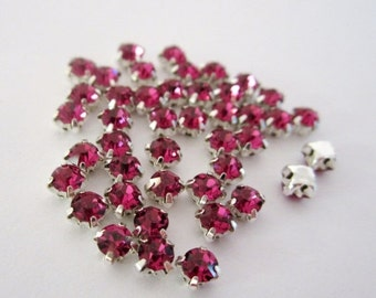 ON SALE 4mm Dark Pink Sew on Rhinestones . 20 Pcs