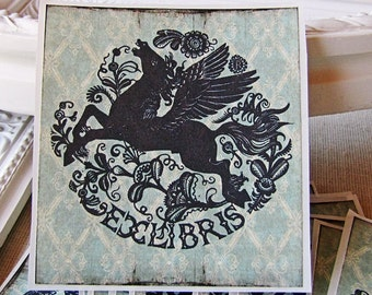 PERSONALIZED Bookplate Stickers- PEGASUS - Mythology Bookplates - Book Plates - Ex Libris - Custom Bookplates - gifts for bookworms -fantasy