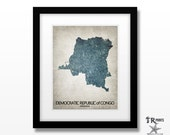 Democratic Republic of Congo Map Art Print - Home Is Where The Heart Is Love Map - Original Art Print Available in Multiple Sizes & Colors