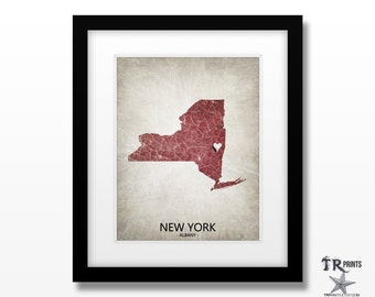 New York State Map Art Print - Personalize Map Art Print Available in Multiple Size and Color Options