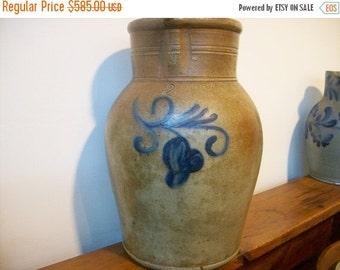 15% OFF WINTER SALE Antique Stoneware:  Two gallon Pennsylvania  Stoneware Pitcher Cobalt Floral Design Field Pitcher Water Pitcher Primitiv