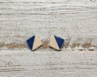 Ceramic Square Earrings, Royal Blue, Modern, Unique Gift, Spring Fashion, Minimal, Graphic, Ceramics, Ceramic Jewelry