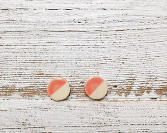 Ceramic Disc Earrings, Coral, Unique Gift, Modern, Gift for Her, Minimal, Summer, Ceramics, Unique Jewelry, Ceramic Jewelry