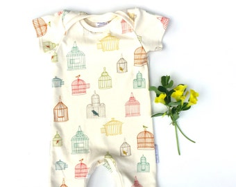 Organic cotton baby romper in 'Bird cage'
