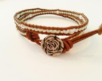 Double wrap leather bracelet, seed beads bracelet, brown vintage tan leather wrap bracelet, light green wrap bracelet,