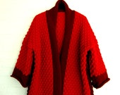 Knitted Long Cardigan Handmade Shawlcollar Red Bordeaux Warm Winter Coat Plus Size Outerwear Winterwear Sweater