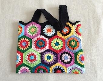 Crochet Granny Square.bag..  Handmade art purse...photo prop.pouch..