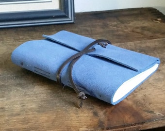 "Slim Leather Journal - Blue Suede Journal 4.5"" x 6"" by The Orange Windmill 1631"