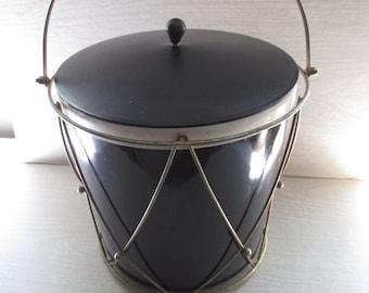 Mid Century Ice Bucket, Drum Ice Bucket, Mad Men Decor, Retro Barware