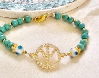 PEACE bracelet , bohemian bracelet , gypsy bracelet , charm bracelet , hippie bracelet