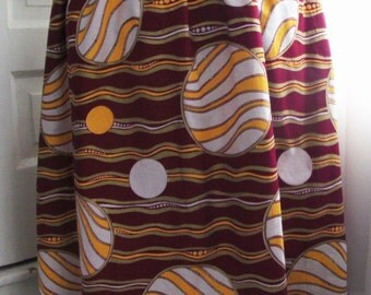 Plus Size African Sun Print Maxi Skirt with Pockets