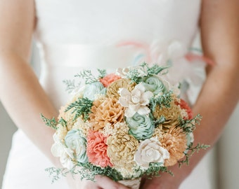 Handmade Wedding Bouquet- Mint Coral Peach Champagne Bridal Bouquet, Alternative Bouquet, Sola Flowers, Keepsake Bouquet, Rustic Wedding