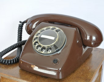 Brown working vintage telephone | working rotary telephone | modified for modern lines | 70s telephone