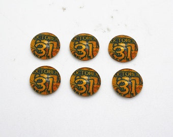 10pcs 12mm Round Handmade Photo Glass Cabochons - Halloween
