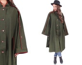 Vintage Wool Cape Coat . 70s CLOAK German Military Style Midi Wool Khaki 1970s Green Bohemian . size 40
