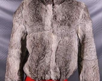 Vintage Grey Gray Rabbit Fur Chub Jacket Coat Niki Hong Kong Medium
