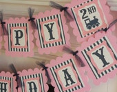Happy Birthday Vintage Train Girl Pink and Navy Blue Theme Banner - Light Pink & Blue and Red/Blue Avail - Ask about Our Party Pack Special