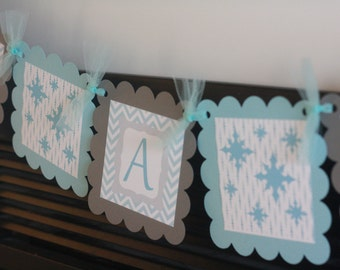 """Baby Shower Blue & Grey Chevron Snow Snowflake Winter Wonderland """"It's a Boy"""" or """"It's a Girl"""" Baby Shower Banner - Ask About Party Pack"""