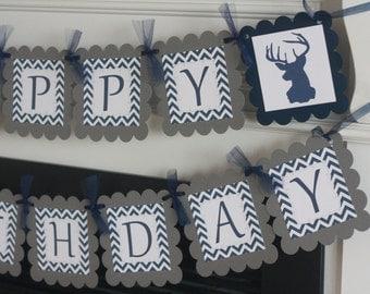 Happy Birthday Navy Blue & Grey Chevron Deer Head Silhouette Man Woodland Creature Outdoor Hunter Boy Theme Banner - Party Pack Specials