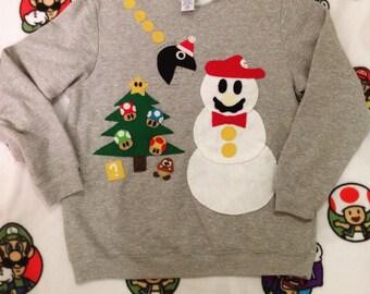 Handmade Mario Bros Snowman Christmas Sweatshirt