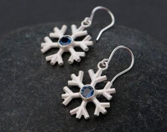 Sapphire Earrings - Snowflake Earrings - Sapphire Pendant Earrings - Blue Sapphire  Earrings - Sterling Silver and Sapphire - Free Shipping