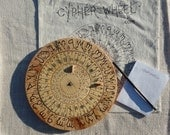 Cypher Wheel Cipher Disk Wood with Theban, Ogham, Enochian, & Celtic Rune Scripts in Black Ink, for your Secret Codes