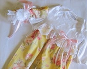 Baby girl layette gown coming home outfit old world yellow  very Feminie