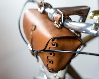Leather Bicycle Tool Bag, Crossbar Bag, Bike Seat Bag, Saddle Bag, Full Grain