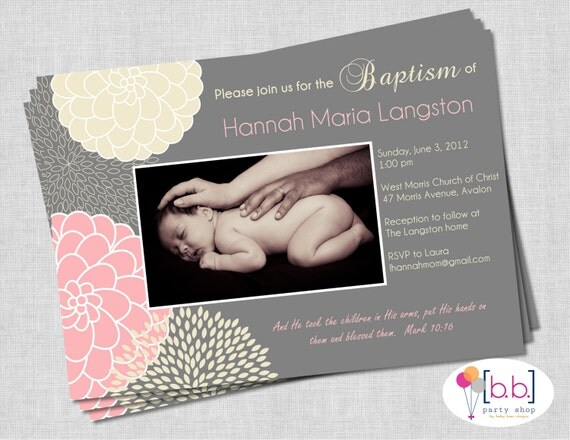 Girl Baptism Invitation- Pink & Gray- Printable or Shipped